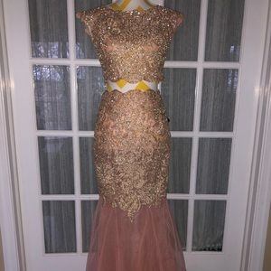 A beautiful Gold/Pink/Peach prom dress